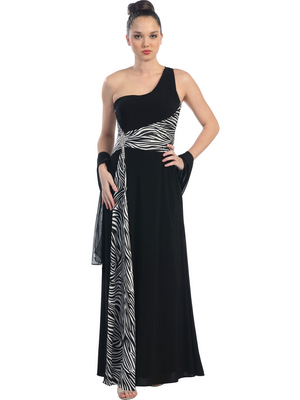 E1889 One Shoulder Animal Print Evening Dress, Black Zebra