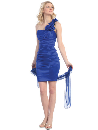 E1893 One Shoulder Rosette Cocktail Dress. - Royal Blue, Front View Medium