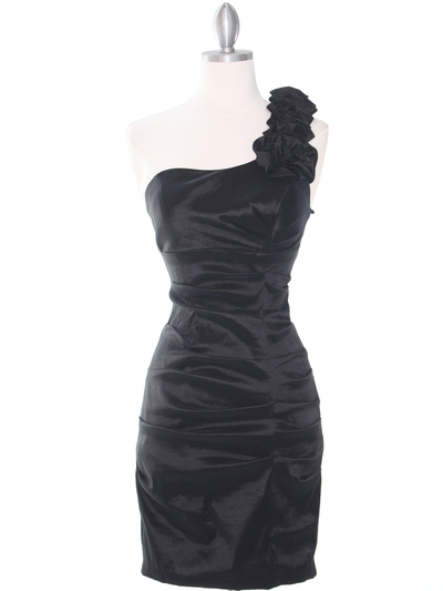 E1893 One Shoulder Rosette Cocktail Dress. - Black, Front View Medium
