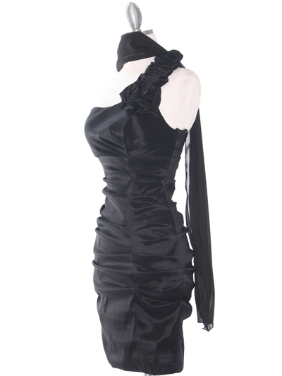 E1893 One Shoulder Rosette Cocktail Dress. - Black, Alt View Medium