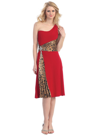 E1899 One Shoulder Animal Print Tea-Length Cocktail Dress - Red Cheetah, Front View Medium