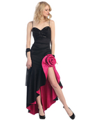 Rosette High Low Evening Dress