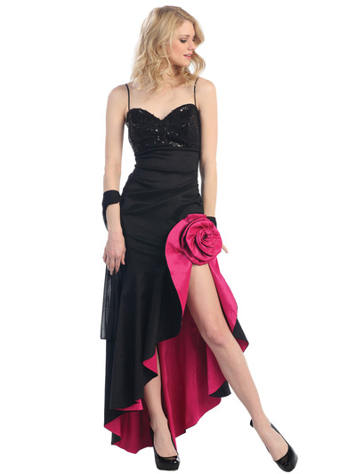 E1905 Rosette High Low Evening Dress - Black Fuschia, Front View Medium