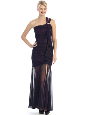 E1907 One Shoulder Shimmer Cocktail Dress, Plum
