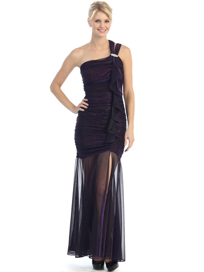 E1907 One Shoulder Shimmer Cocktail Dress - Plum, Front View Medium