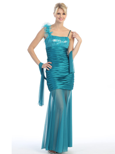 E1909 Pleated Evening Dress - Jade Green, Front View Medium