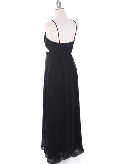 E1913 High Low Chiffon Cocktail Dress - Black, Back View Medium