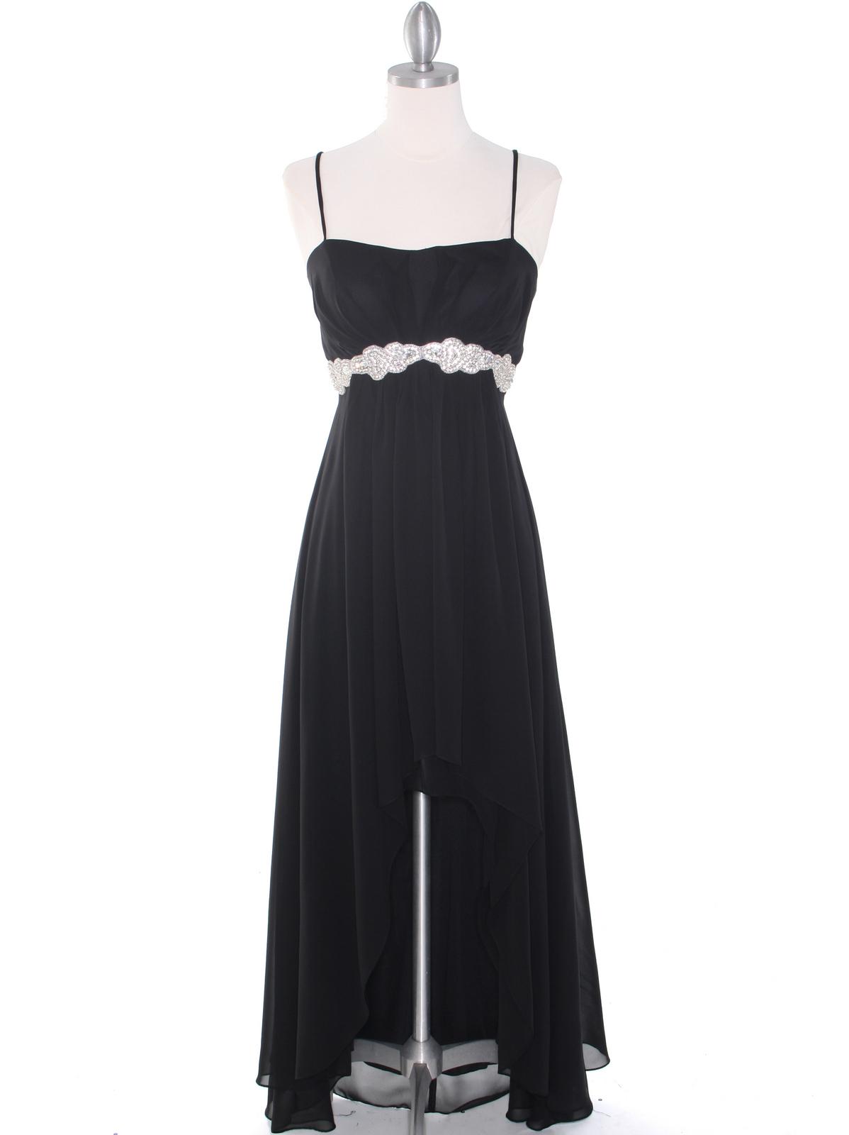 7653b6af3a E1913 High Low Chiffon Cocktail Dress - Black