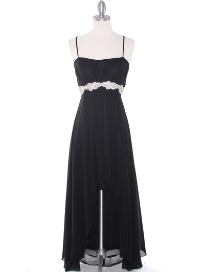 E1913 High Low Chiffon Cocktail Dress - Black, Front View Medium