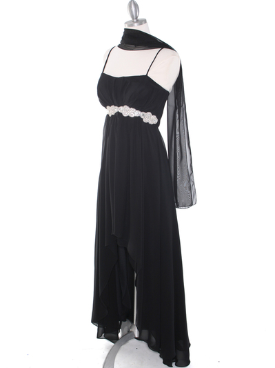 E1913 High Low Chiffon Cocktail Dress - Black, Alt View Medium