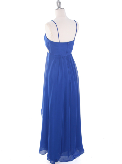 E1913 High Low Chiffon Cocktail Dress - Royal Blue, Back View Medium