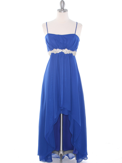 E1913 High Low Chiffon Cocktail Dress - Royal Blue, Front View Medium