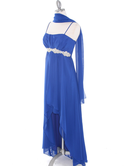 E1913 High Low Chiffon Cocktail Dress - Royal Blue, Alt View Medium