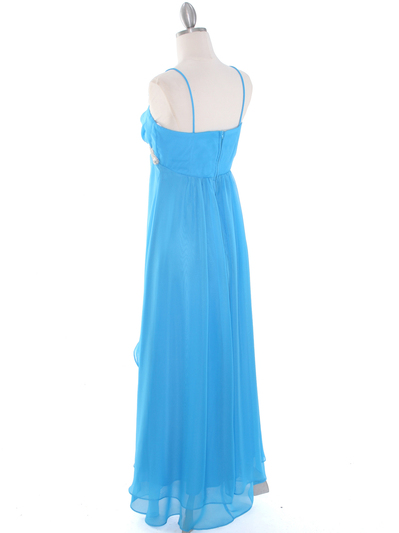 E1913 High Low Chiffon Cocktail Dress - Turquoise, Back View Medium