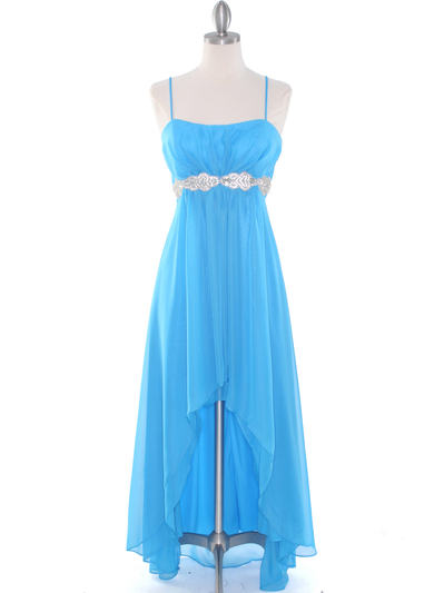 E1913 High Low Chiffon Cocktail Dress - Turquoise, Front View Medium