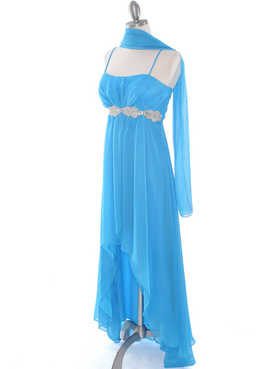 E1913 High Low Chiffon Cocktail Dress - Turquoise, Alt View Medium