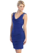 E1915 Cowl Cocktail Dress, Royal Blue