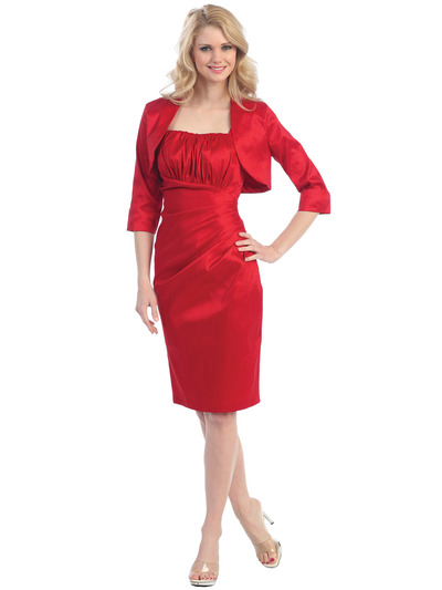 E1919 Pleated Cocktail Dress with Jacket - Red, Front View Medium