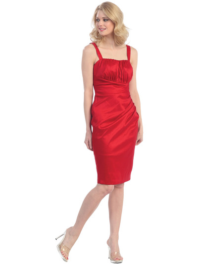 E1919 Pleated Cocktail Dress with Jacket - Red, Alt View Medium