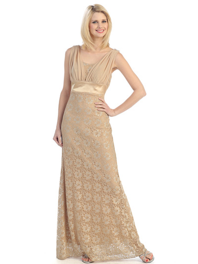 E1922 Lace Evening Dress - Gold, Front View Medium