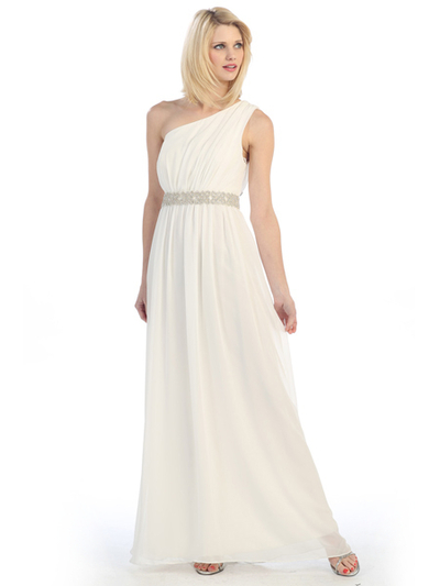 E1924 Grecian Inspired Offset Shoulder Chiffon Evening Dress - Off White, Front View Medium