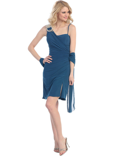 E1944 One Shoulder Asymmetrical Cocktail Dress - Teal, Front View Medium
