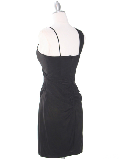 E1944 One Shoulder Asymmetrical Cocktail Dress - Black, Back View Medium
