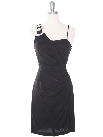 E1944 One Shoulder Asymmetrical Cocktail Dress - Black, Front View Medium
