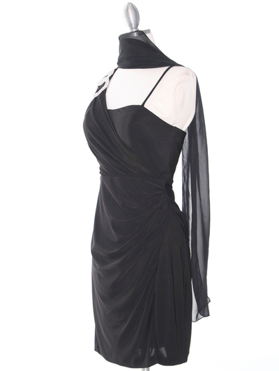 E1944 One Shoulder Asymmetrical Cocktail Dress - Black, Alt View Medium