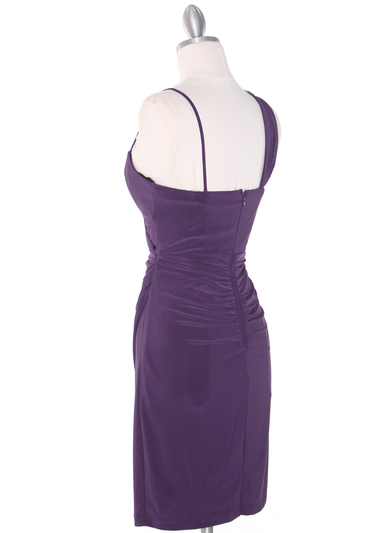 E1944 One Shoulder Asymmetrical Cocktail Dress - Plum, Back View Medium