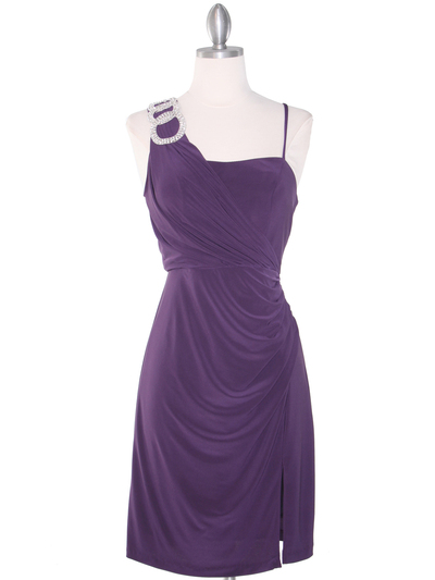 E1944 One Shoulder Asymmetrical Cocktail Dress - Plum, Front View Medium