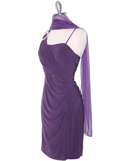 E1944 One Shoulder Asymmetrical Cocktail Dress - Plum, Alt View Medium