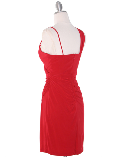 E1944 One Shoulder Asymmetrical Cocktail Dress - Red, Back View Medium