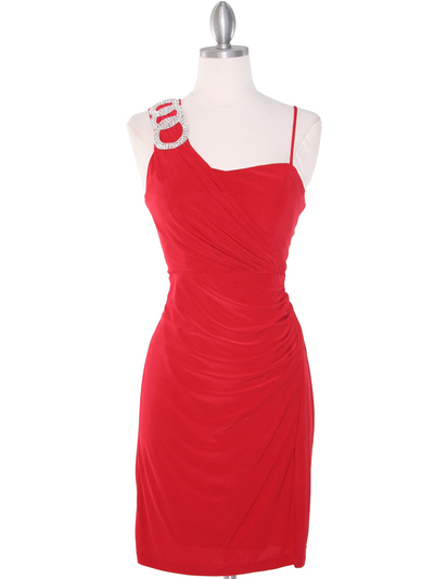 E1944 One Shoulder Asymmetrical Cocktail Dress - Red, Front View Medium