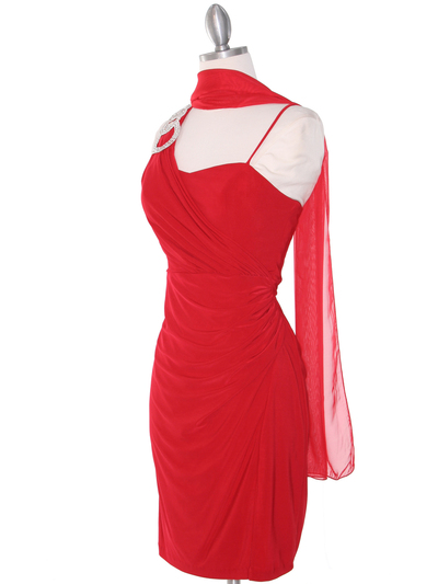 E1944 One Shoulder Asymmetrical Cocktail Dress - Red, Alt View Medium