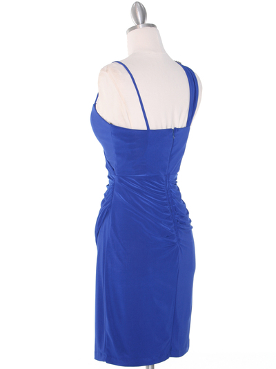 E1944 One Shoulder Asymmetrical Cocktail Dress - Royal Blue, Back View Medium