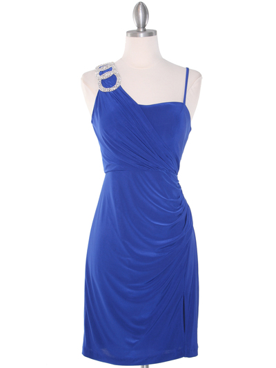 E1944 One Shoulder Asymmetrical Cocktail Dress - Royal Blue, Front View Medium
