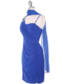 E1944 One Shoulder Asymmetrical Cocktail Dress - Royal Blue, Alt View Thumbnail