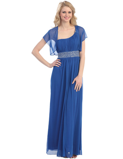 E1999 One Shoulder Evening Dress With Jacket - Royal Blue, Front View Medium