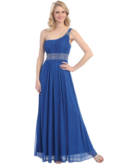 E1999 One Shoulder Evening Dress With Jacket - Royal Blue, Alt View Medium