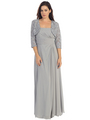 E2000 Mother of The Bride Dress and Bolero Set - Silver, Front View Thumbnail