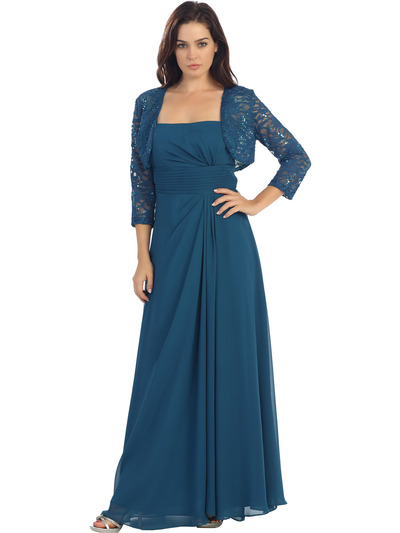 E2000 Mother of The Bride Dress and Bolero Set - Teal, Front View Medium