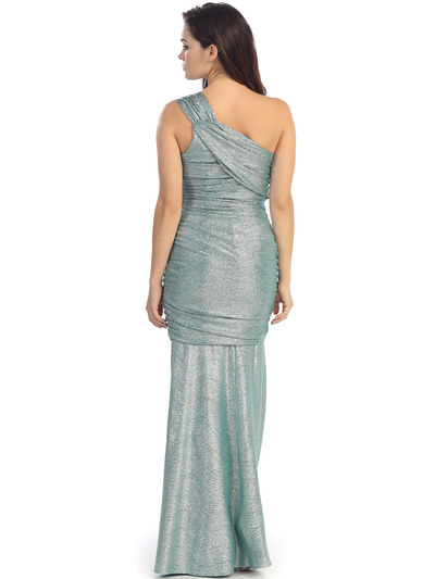 E2001 One Shoulder Shimmering Evening Dress - Metallic Green, Back View Medium