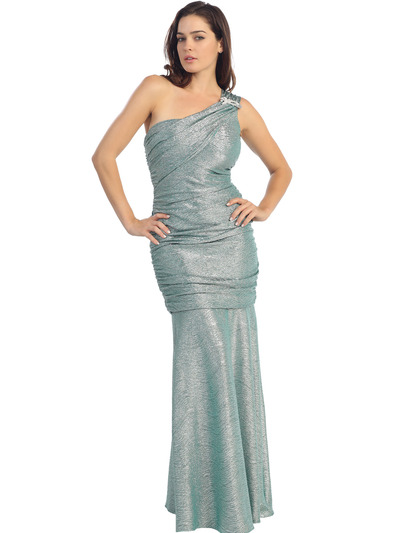 E2001 One Shoulder Shimmering Evening Dress - Metallic Green, Front View Medium