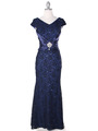 E2003 Lace and Satin Cap Sleeve Evening Dress - Navy, Front View Thumbnail