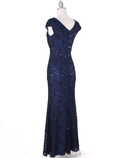 E2003 Lace and Satin Cap Sleeve Evening Dress - Navy, Back View Medium