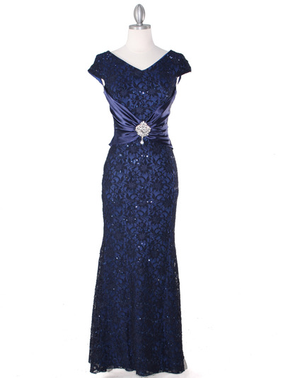 E2003 Lace and Satin Cap Sleeve Evening Dress - Navy, Front View Medium
