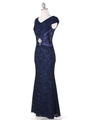 E2003 Lace and Satin Cap Sleeve Evening Dress - Navy, Alt View Thumbnail