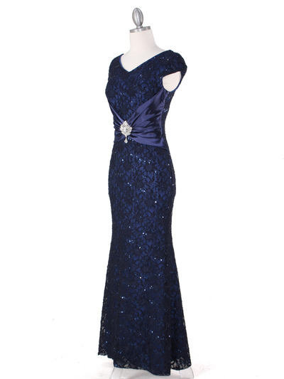 E2003 Lace and Satin Cap Sleeve Evening Dress - Navy, Alt View Medium