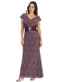 E2003 Lace and Satin Cap Sleeve Evening Dress - Plum, Front View Thumbnail